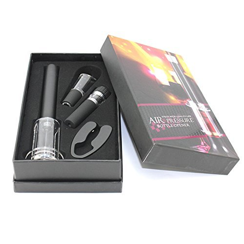 LEasylife Wine Accessory Set Includes Alloy Pressure Bottle Opener, Foil Cutter, Vacuum Saver Pump and Wine Aerator Pourer (Set of 4) with Black Storage Box