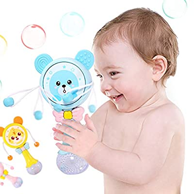 Finance Plan Musical Toy Cartoon Pellet Drum Shaking Rattle Baby Hand Bell Music Light Rhythm Teether Toy: Toys & Games
