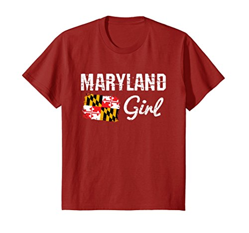 Kids Cranberry Apparel - Kids Maryland Flag Shirts Maryland Girl T-Shirt 6 Cranberry