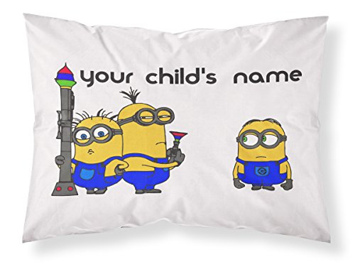 Customizable, Minions Themed Pillowcase, Featuring 3 Adorable Minions From Despicable Me! Personalized With Your Child's Name - Perfect Gift For Boys Of All Ages! (Minions Name)