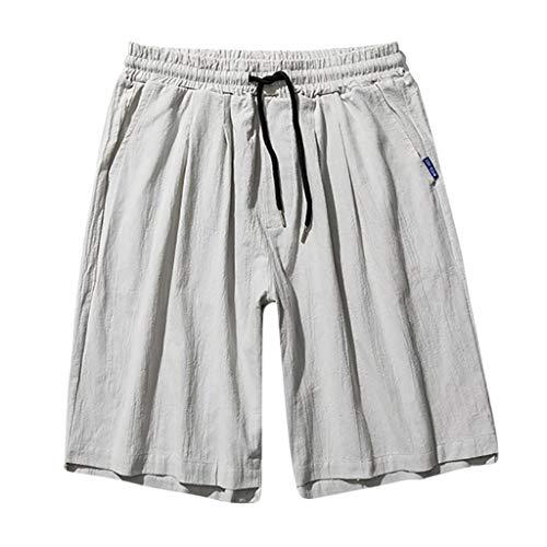 Shorts for Men Big and Tall terbklf Fashion Men Casual Linen Shorts Solid Wide Leg Beach Short Trouser Drawstring Pants Gray