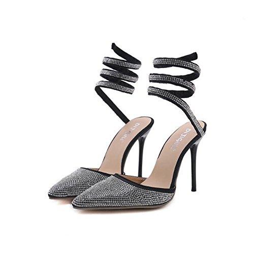 d8884bfe247c En Pour Black Sandales À D honneur Cheville Femme Lan La De Des Strass  Demoiselle Talon ...