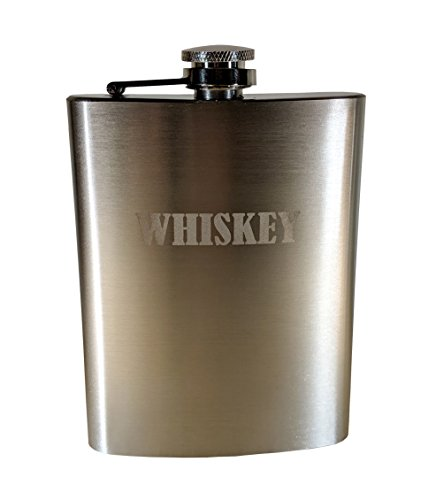 BoozeWorks Flask - 8oz Stainless Steel Flask for Whiskey, Rum, Scotch, Vodka, Bourbon (Whiskey)