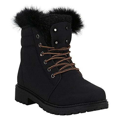 Stiefelparadies Warm Gefütterte Damen Stiefeletten Outdoor Boots Fell Nieten Flandell Schwarz Schwarz Avion