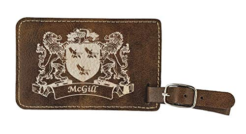 McGill Irish Coat of Arms Luggage Tag(set of 2) - Rustic Leather
