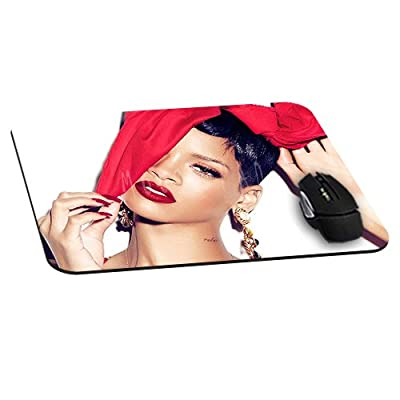 Rectangle Gaming Mouse Pad Mat DIY Pattern Mouspad Rubber Base Mousepads Waterproof Fade Resistant Rihanna Beautiful Red Lips Star