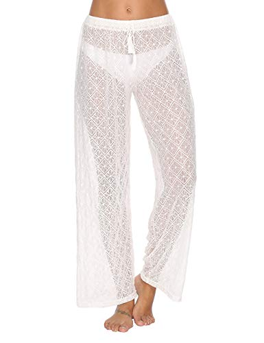 - Blingfit Women Fashion Casual High Waist White Wide Leg Pants Elastic Long Palazzo Pants with Belt