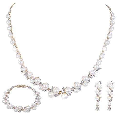 Tone Gold Rhinestone Jewelry Set - EVER FAITH Cream Simulated Pearl Crystal Bridal Necklace Earrings Bracelet Set Gold-Tone