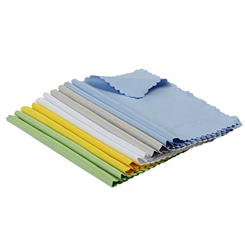 (ColorYourLife 10-Pack Microfiber Cleaning Cloths for Apple iPad, Tablets, Lenses, LCD monitor, TV, Camera, Optics etc in Retail Packaging - 7x6)