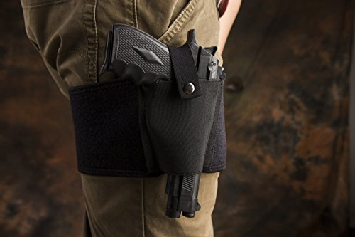 Costumes Gun Holster Lara Croft (SKYCY Gun Holster Pistol Holster for Concealed Carry | Neoprene Waist Band Handgun Carrying System for Women Men Fits for Small to Medium Frame Pistols and Revolvor, Black)