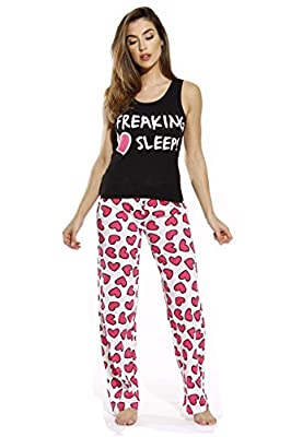 Just Love 100% Cotton Women Pajama Ribbed Tank & Jersey Pant Sets