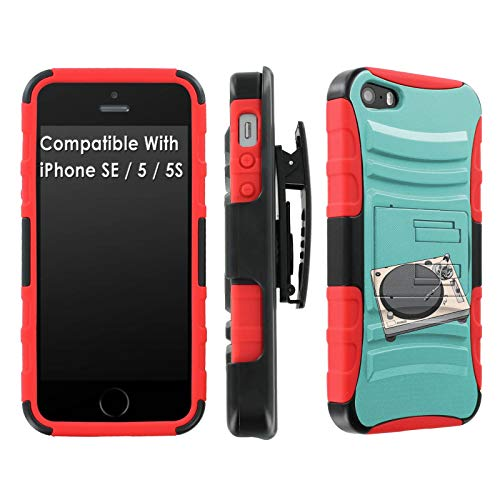 [Mobiflare] Apple iPhone [SE/5S/5] [Black/Red] Dual Armor Case with Holster [Turntable Print]
