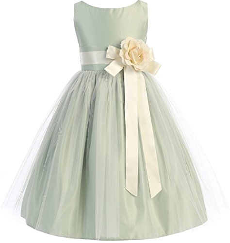 Big Girls' Modern Design Tulle Overlay Sash Flowers Girls Dresses Sage 8