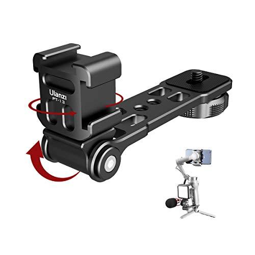 Ulanzi PT-13 Triple Hot Shoe Mount Cameras Bracket , Microphone Mount Extenstion Bar for Microphone LED Light, Compatible for DJI Osmo Mobile 3 Zhiyun Smooth Feiyutech Gimbal
