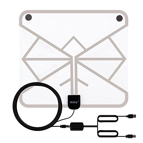 Wsky 60+ Miles 1080P Transparent Digital HDTV Antenna - Best Hdtv Antenna Indoor - Upgraded Silver Paddle Extremely High Reception - Super FUN and FREE for (Tv Aerial Reception)