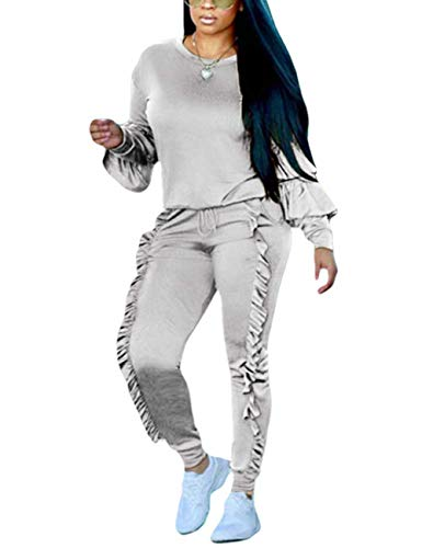 Subtle Flavor Women 2 Pieces Outfits Puff Sleeve Top and Long Flounced Pants Sweatsuits Set Tracksuits Grey X-Large