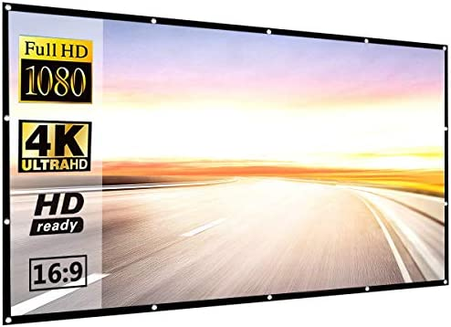 Projector Screen 120 inch 16:9 HD Foldable Anti-Crease Portable Projection Movies Screen for Home Theater Outdoor Indoor Support Double Sided Projection via P-JING