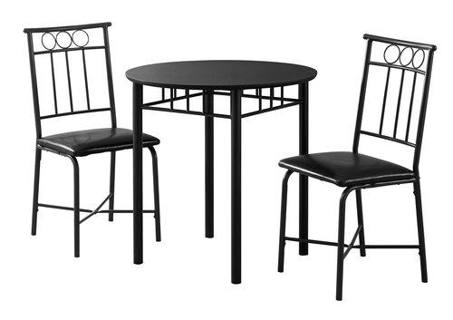 DINING SET - 3PCS SET BLACK METAL AND TOP
