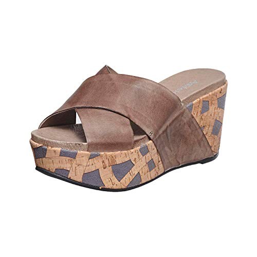 - Antelope Women's 828 Grey Leather Hi Cross Band Slide Wedge Sandals 36
