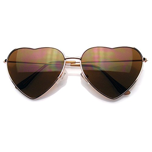 Womens Metal Heart Frame Mirror Lens Cupid Heart shape Sunglasses (Gold, - Chromehearts Sunglasses
