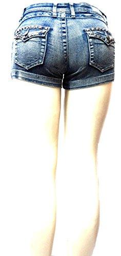Women's Juniors Classic Perfect Fit Mid-Rise Blue Denim Jeans Shorts (Blue Acid 1747SH, 7) by JEANS FOR LOVE (Image #6)