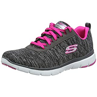 Skechers Women's Flex Appeal 3.0 Sneaker, Black hot Pink, 5 M US