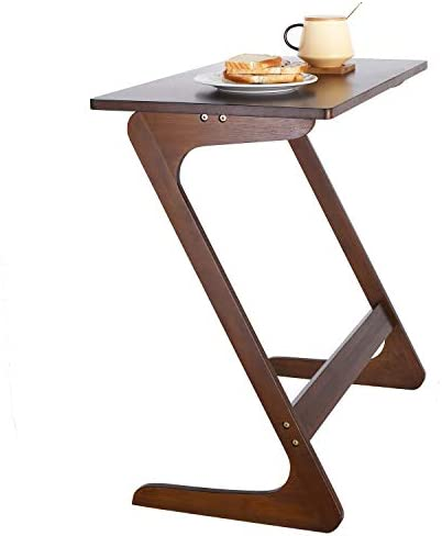 HOMFA Z-Shaped End Table TV Tray Bamboo Snack Laptop Desk Night Stand Couch Side Table Moveable Stand