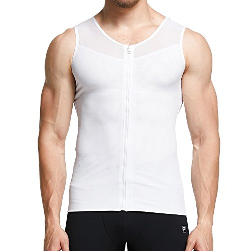 Mens Slimming shirt Body Shaper Tank Top Front Zipper Corset Vest, White, Large