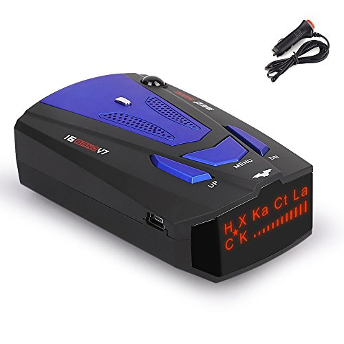 RICHOYY Radar Detector, Voice Prompt Speed, City/Highway Mode Radar Detector for Cars (FCC Certification) (Blue)