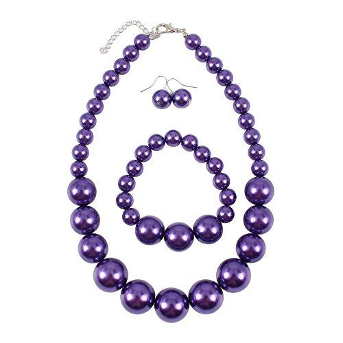 (KOSMOS-LI Women's Large Big Simulated Purple Pearl Statement 19
