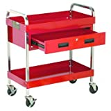 Large Steel Service Cart with Locking Drawer