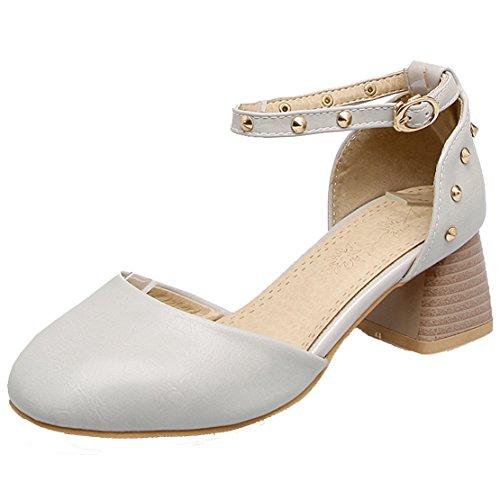AIYOUMEI Damen Blockabsatz knöchelriemchen Pumps mit Nieten und 5cm Absatz Schuhe Grau