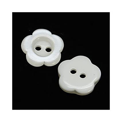 Packet 20 x White Resin 15mm Flower 2-Holed Sew On Buttons HA14075