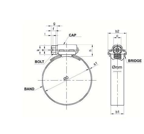 qualit/é industrielle Colliers de serrage en acier inoxydable W2/serrage /Ø 100//à 120/mm filetage escargot Il-Bi/® Norme DIN 3017 largeur 9/mm