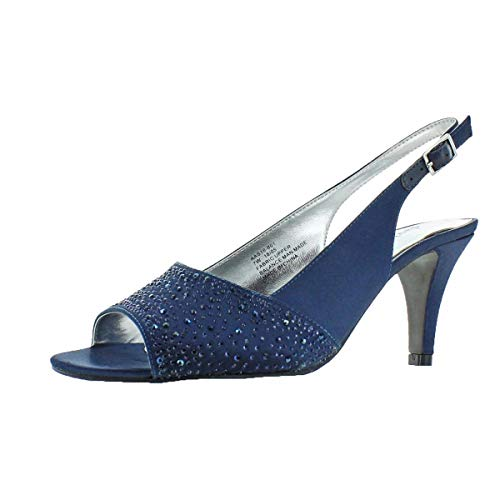 (David Tate Women's Stunning Satin Embellished Slingback Pump Navy Size 8)