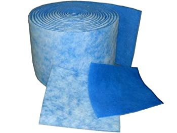 "Aquarium / Pond / Sump Pump Filter Media Roll , Blue / White MERV6 Polyester Media - 1"" x 25"" x 6' (Over 12 sq ft )"
