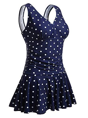 MiYang Women's Plus-Size Polka Dot Shaping Body One Piece Swim Dresses Swimsuit XL Navy Polka Dot