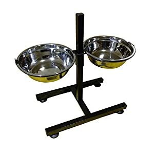 BobbyPet Adjustable Raised Double Stainless Steel Dog Diner Bowls. Elevated Standing with XL Dual Dog Dish 10