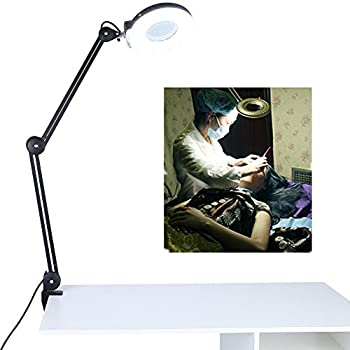 5X/8X Desk Magnifier Lamp, Table Lamp Swivel Adjustable Clamp Magnifying Light for Beauty Manicure Tattoo Skincare (5X, Black)