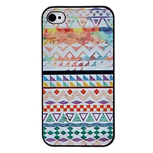 AES - Geometric Figure Coloured Drawing Pattern Black Frame PC Hard Case for iPhone 4/4S