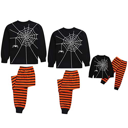 Family Matching Halloween Pajama Set,Crytech Comfy Soft Cotton Long Sleeve Spider Net Print Sleepshirt Top and Striped Lounge Pant Outfit for Parent Child Nightgown Pj Sleepwear (Medium, Mom)