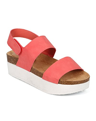 Grapefruit Band Creeper Leatherette Two Slingback Double Flatform Open CF14 Tone Sandal Breckelles Toe Women q81vPO