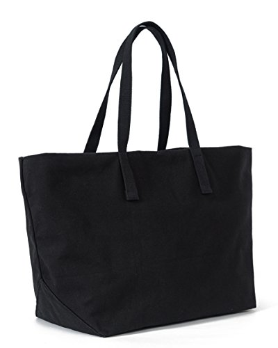 BAGGU Women's Weekend Bag, Roomy and Durable Canvas Carry-on Travel Tote, Black