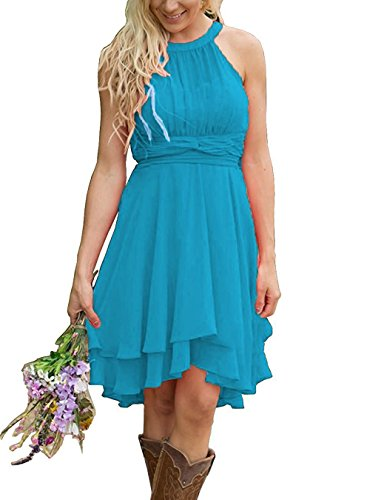(Meledy Women's Girls' Hi Low Chiffon Western Wedding Guest Dress Halter Summer Short Country Bridesmaid Dresses Ocean Blue US10)