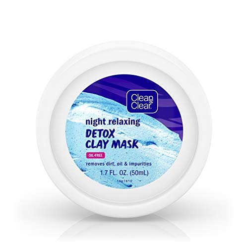 - Clean & Clear Night Relaxing Detox Bentonite and Kaolin Clay Face Mask for a Purifying Deep Clean, Oil-Free & Non-Comedogenic, 1.7 oz(Pack of 3)