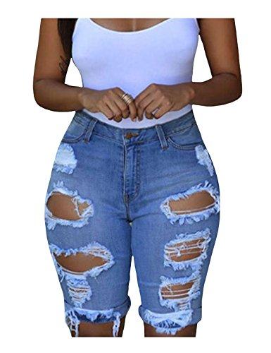 Denim Bleu Haute Distressed Jean Legou Femme Taille Extensible 0AXAExq
