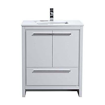 . Dolce 30  Freestanding Modern Bathroom Vanity with White Quartz
