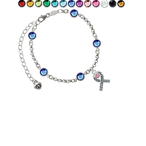 Scroll Ribbon with Pink Crystal Custom Crystal Color Fiona Charm Bracelet