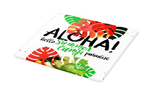 Lunarable Vintage Hawaii Cutting Board, Summer Paradise Quote with Abstract Vibrant Colored Leaves Aloha, Decorative Tempered Glass Cutting and Serving Board, Large Size, Vermilion Green Black by Lunarable