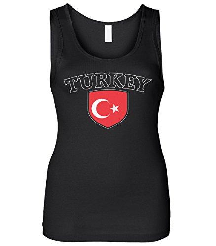 Cybertela Women's Turkey Flag Crest Shield Slim Fit Tank Top (Black, Large)